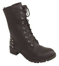 ELVIN! Women's Combat Studded Lug Sole Low Heel Ankle Boots in Brown Leatherette