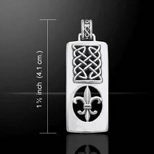 Celtic Knots Fleur De Lis French Royal Lily Silver Pendant