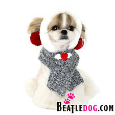 ALL IN ONE BIG POM POM HAT/SCARF COMBO dog clothes knit beatledog PUPPY ZZANG
