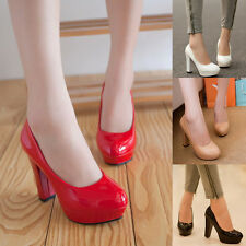 Womens Sexy Chunky High Heels Platform Stiletto Dress Wedding Prom Pumps Shoes