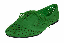 Betty! City Classified Lace Up Flower Cut Out Oxford Flats Emerald Faux Suede