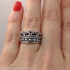Crown Ring - 925 Sterling Silver - Solid Princess Royalty Tiara *NEW* Queen Ring