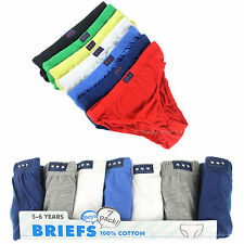 Boys Briefs Cotton Multi 7 Pack Plain Pants Age 2-3, 3-4, 5-6 & 7-8