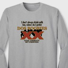 DOS BOOBIES College Humor T-shirt Funny Dos Equis Beer Parody Long Sleeve Tee