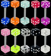 UV Double Dice Surgical Steel Ear Nipple Tongue Body Piercing Bar 10 Colours 14g
