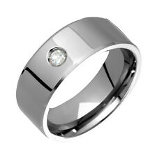 Mens Titanium Ring Solitaire Diamond Wedding Band Engagement Ring  Size 4 to 14