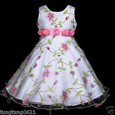 White Wedding w779 UsaG gi3 Halloween Summer Party X'mas Flower Girl Dress 2-12y