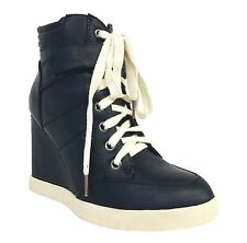 Kayak! By Delicious Lace Up Heel Sneakers with Velkro Strap Black Leatherette