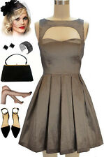 """50s Style PEWTER Sleeveless CutOut Bodice """"LAST SLOW DANCE"""" Pinup COCKTAIL Dress"""