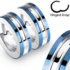 Pair of 316L Surgical Stainless Steel Two Tone Hoop Earring Blue IP Edges