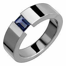 Titanium Band with Iolite Tension Set Comfort Fit 7mm Wide Polished Wedding Ring