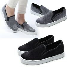 Women's Slip On Flats Sneakers Shoe Girls Casual Loafer Low Top Classic Trainers