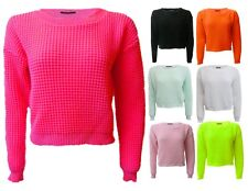 NEW WOMENS LADIES CROP TOP WAFFLE KNITTED LONG SLEEVE JUMPER 8-14