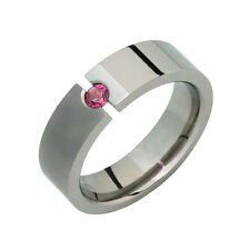 Titanium Pink Touramline Tension Set Ring Comfort Fit 6mm Wide Wedding Band