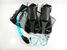 Seavenger Adult Dive Set Snorkel Fin Mask w/ Bag Adult Size S/M/L/XL Clear Teal