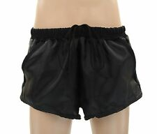 Mens Hand Made, Black Polyester Old School Tennis Shorts w/ Pockets, Gym Walk