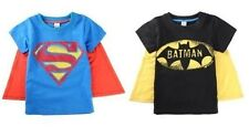 Infant Toddler Boy Tee Shirt Superman or Batman T-Shirt with cape