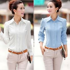 New Elegant Chiffon OL Shirt Blouse Plain Long Sleeve Women Button Down Tops