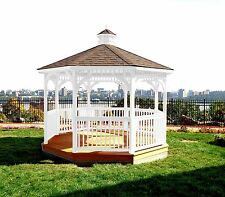 GAZEBO 10 Foot OCTAGON w FLOOR *SOLID WHITE STAIN* 10 Ft Pine Wood Gazebo-USA