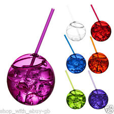 580ml Plastic Party BEAKER TUMBLER & STRAW - Cocktail Juice Cup Glass Ball Bowl