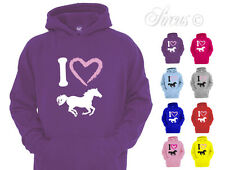 I HEART HORSES DESIGNER HOODY HOODIES HORSE RIDING KIDS CHILDRENS AGES 1 - 12