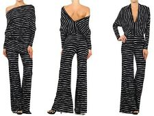BLACK STRIPED MULTI WAY REVERSIBLE PLUNGING CONVERTIBLE OFF SHOULDER JUMPSUIT
