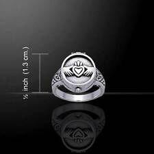 Victorian style Irish CLADDAGH Sterling Silver POISON Pill Box RING