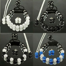 Fashion Shamballa Set 10MM CZ Crystal Clay Ball Bracelet/Stud Earring/Necklace