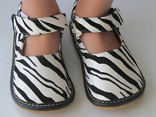 Toddler Shoes - Squeaky Shoes - Zebra Print, Mary Jane Style, Up to Size 7