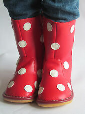 Toddler Boots - Squeaky Boots - Red with White Dots, Up to Toddler Size 7