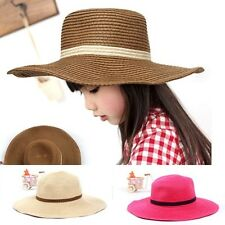 New Fashion Summer Baby Cute Girl Sun Straw Hat Large Brimmed Beach Caps CF1090
