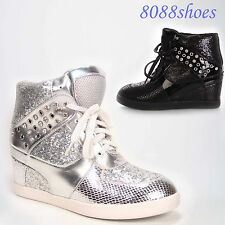 Women's Silver Glitter Rhinestone High Top  Lace Up Wedge Sneaker Shoes NEW
