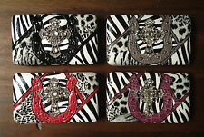 Western Cross Wallet for your inner Cowgirl Clutch Silver Rose Pink Zebra bling