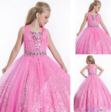 Pink Formal Evening Prom Party Ball Gown Flower Girl Dance Bridesmaid Dress 3-12