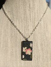 Domino Or Bamboo Altered Art Pendant On Silver Plated Necklace