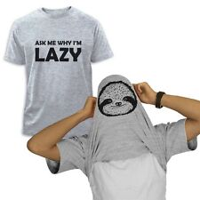 ask me why I'm Lazy Sloth Flipover T-Shirt Pull Over Halloween Easy Costume Tee
