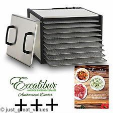 Excalibur STAINLESS STEEL 9-Tray Timer Dehydrator w/ OPTIONS New Model D900SHD