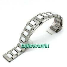16 18 20 mm Stainless Steel Links White Ceramic Watch Band Bracelet Watch Strap