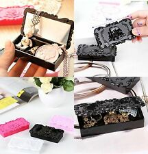 Vintage Style Carved Flowers Jewelry Box Pendant Necklace Organizers Cases Gifts