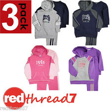 Kids 3 Piece Fleecy Tracksuit Set Boys Girls Hoodie Trackie Pants Top 3pc Outfit