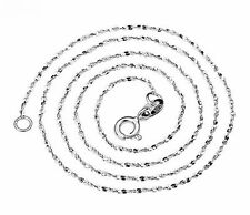 "Solid 925 Sterling Silver 1mm Thin Shiny Italy Starry Sky Chain Necklace 16""18"""