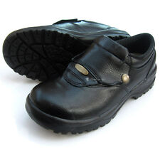 Mens Black Chef Shoes Leather Non slip Velcro Safety Cook Poly Sheet Toe Cap