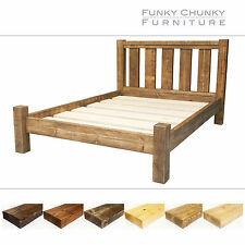 Solid Timber Chunky Wooden Bed Frame with Storage Room and Headboard All Sizes