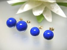 Nature navy blue Afghanistan Lapis 8,10mm round ball stud 14k Gold earrings