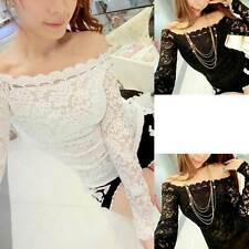 Women Sexy Lace Off-The-Shoulder Slim Fit T-Shirt Long Sleeve Blouse M2540