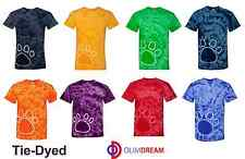 Tie-Dyed Pawprint Short Sleeve T-Shirt 200PR S-3XL Dog Cat Animal Paw PrintNEW
