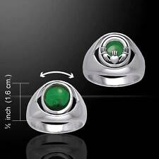 Stunning Irish CLADDAGH Silver FLIP RING with Emerald Glass - Size Selectable