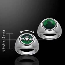 Claddagh Silver Flip Ring with Irish Emerald Green Glass stone - Size Select