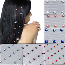 48pcs Charming Iron On Jewels Hair Extension Straightener Diamante Gem B58U
