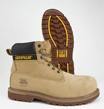 CAT BOOTS CATERPILLAR HOLTON STEEL TOE WHEAT BEIGE NUBUCK LEATHER WORK BOOT WIDE